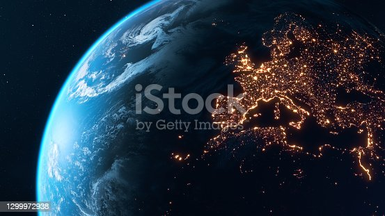 istock Planet Earth At Night - City Lights of Europe Glowing In The Dark 1299972938