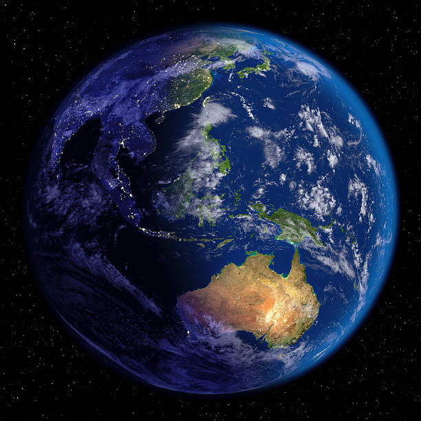 夜の地球&日(東洋文化とオセアニア - 地球 ストックフォトと画像