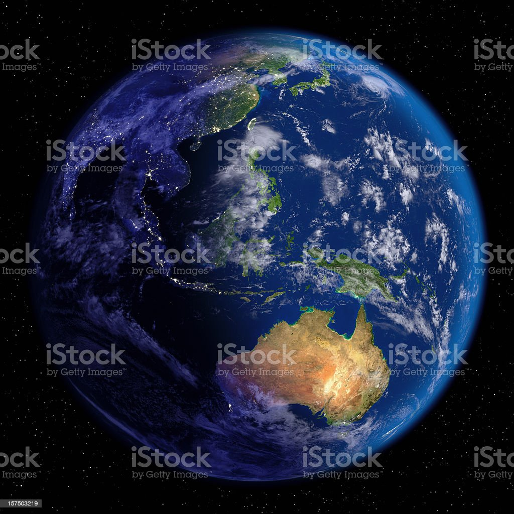 Planet Earth at Night & Day (Far East and Oceania) stock photo