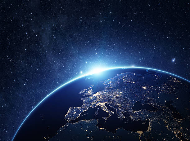 planet earth at night - europe map stock photos and pictures