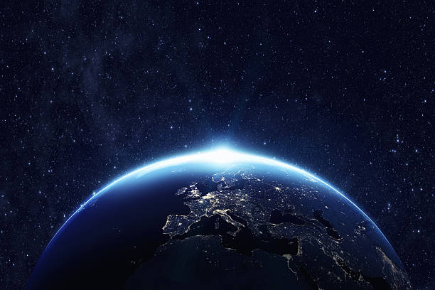 Planet earth at night stock photo