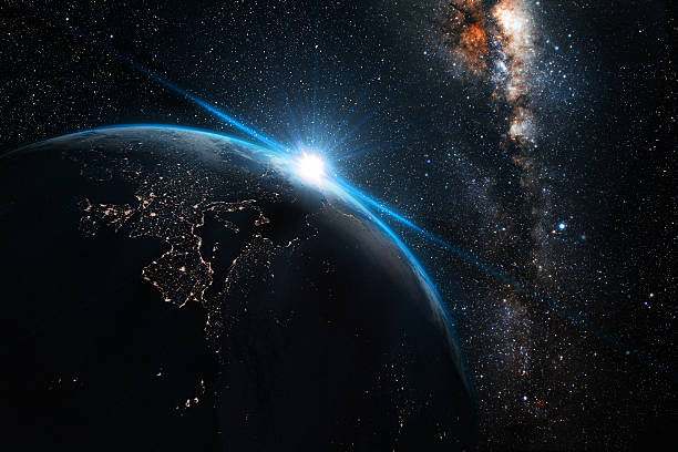 planet earth at night with space background - space exploration stock photos and pictures