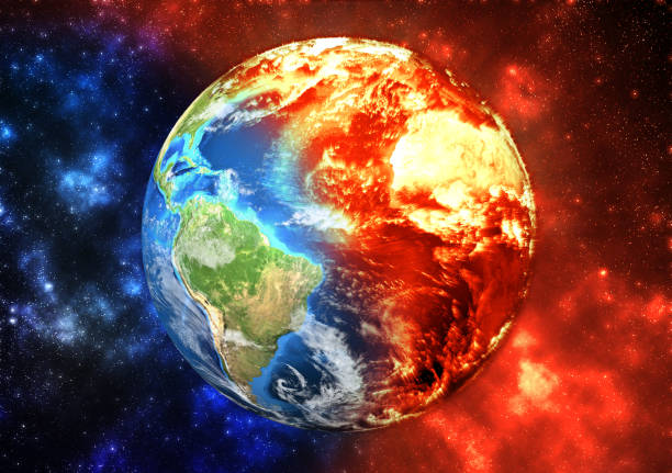 Planet Earth burning, global warming concept Planet Earth -  ecology concept, global warming concept, the effect of environment climate change. Elements of this image furnished by NASA (https://visibleearth.nasa.gov/) climate change stock pictures, royalty-free photos & images