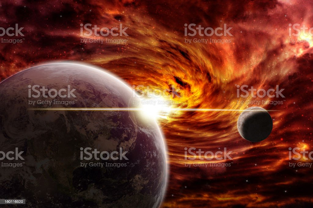 Planet earth during apocalypse stock photo