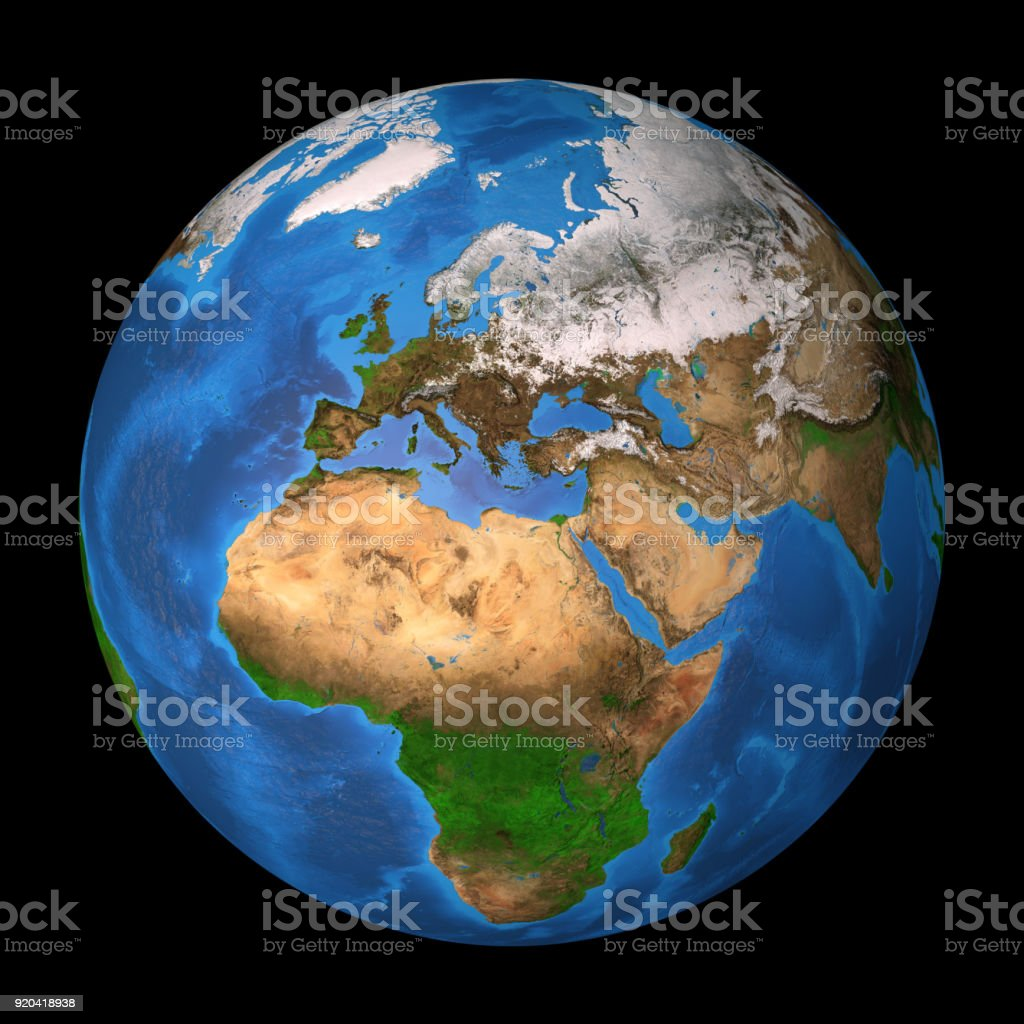 Planet Earth. Europe, Africa and Asia. stock photo