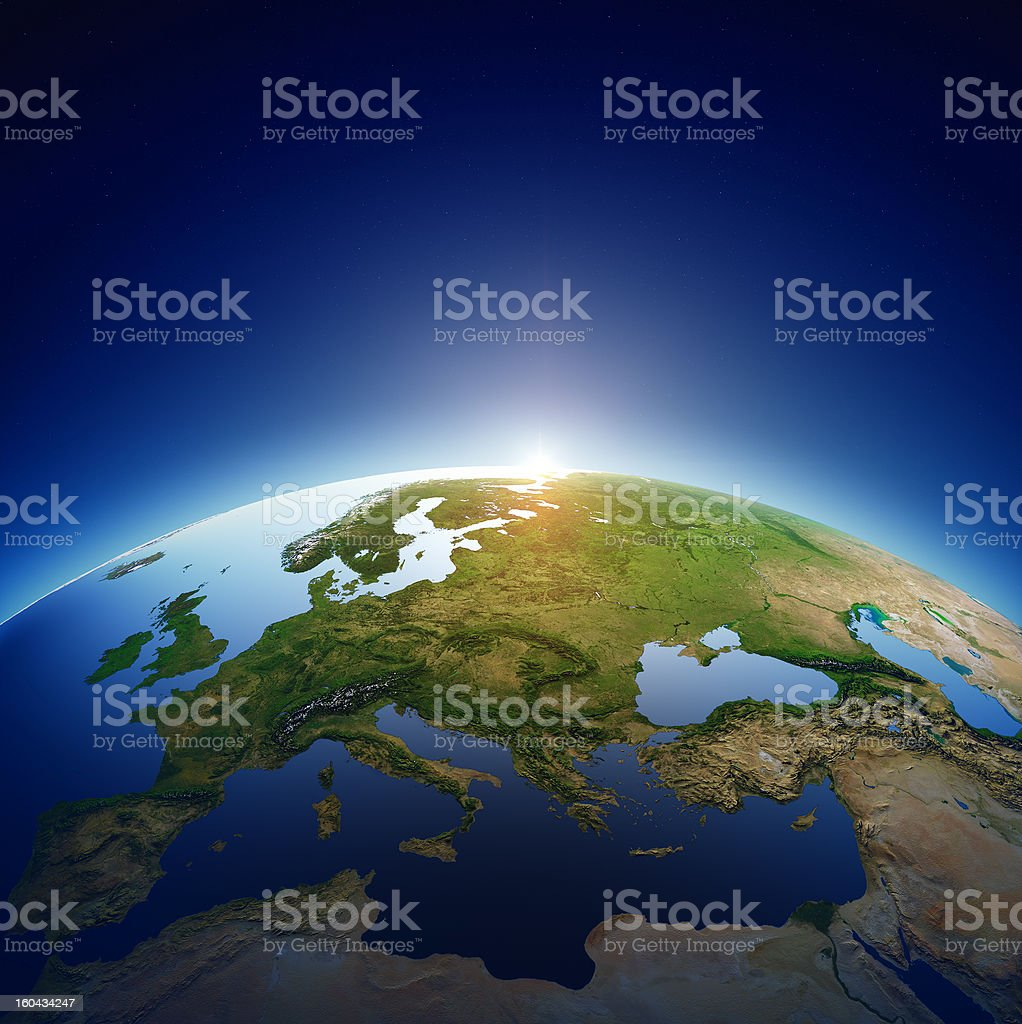 Planet earth - Europe with sunrise stock photo