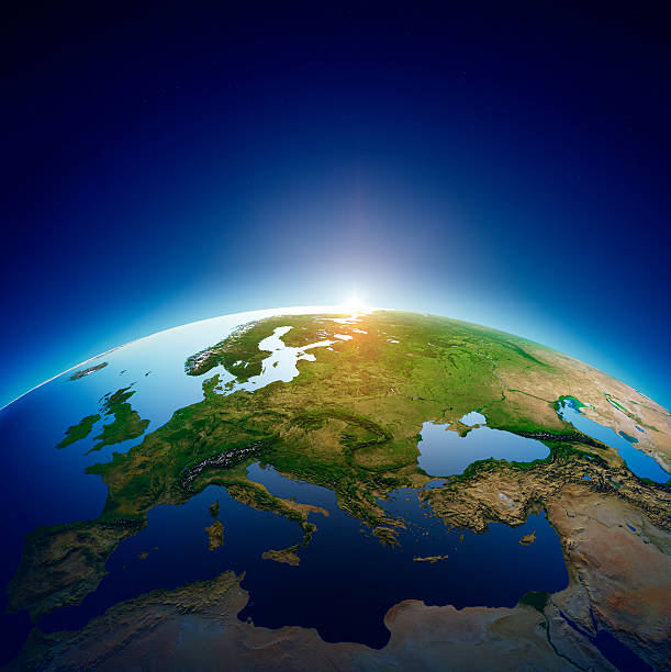 Planet earth - Europe with sunrise Planet earth with sun rising over European countries (Elements of this image furnished by NASA- earthmap  http://visibleearth.nasa.gov) northern europe stock pictures, royalty-free photos & images