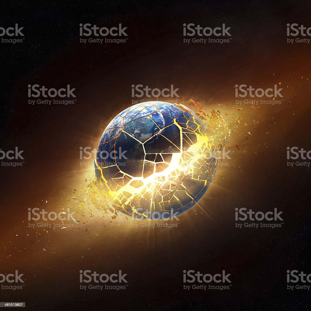Planet earth explode in space stock photo