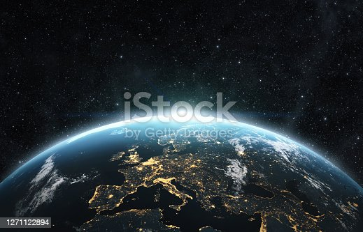 istock Planet earth from the space at night 1271122894