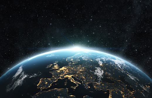 Planet earth from the space at night . 3d render, textures furnished from https://visibleearth.nasa.gov/images/144875/earth-at-night-black-marble-2012-color-maps-v2
