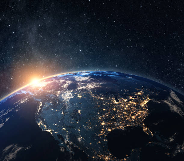 Planet earth from the space at night stock photo
