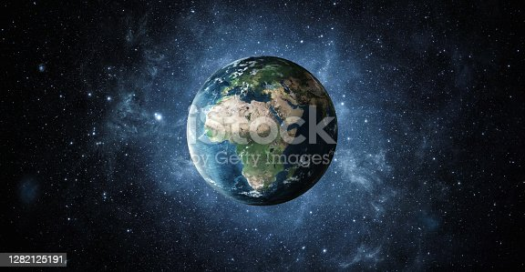Planet earth from the space at night . 3d render, textures furnished from https://visibleearth.nasa.gov/images/73580/january-blue-marble-next-generation-w-topography-and-bathymetry/73586l