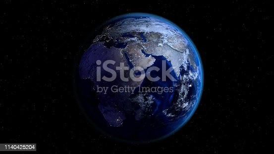 istock Planet Earth half night and half day with city lights and clouds in space with stars. 1140425204