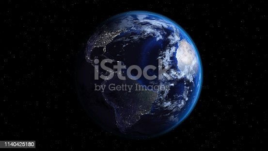 istock Planet Earth half night and half day with city lights and clouds 1140425180