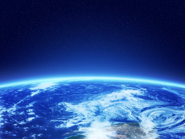 Planet earth high orbit view. Satellite view of a planet Earth planet earth stock pictures, royalty-free photos & images