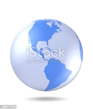 817002182 istock photo Planet Earth icon. Planet Earth with shadow on a white background. 3D render. 868417046