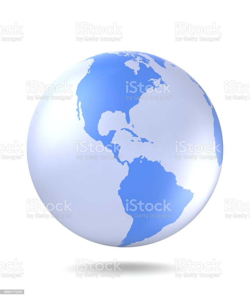 Planet Earth icon. Planet Earth with shadow on a white background. 3D render. stock photo