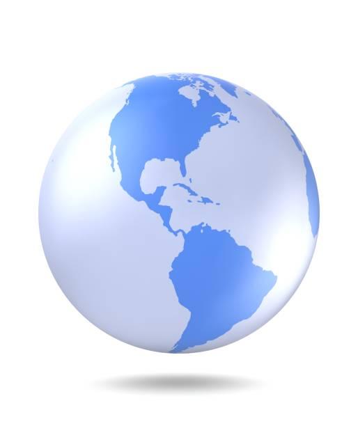 Planet Earth-Symbol. Planetenerde mit Schatten auf weißem Hintergrund. 3D Render. – Foto