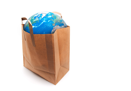 Planet Earth in a paper bag