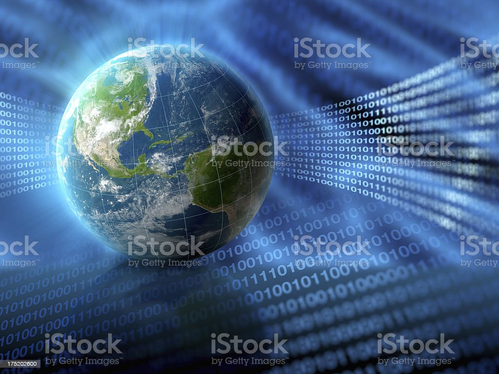 Planet Earth in binary digital environment concept stock photo