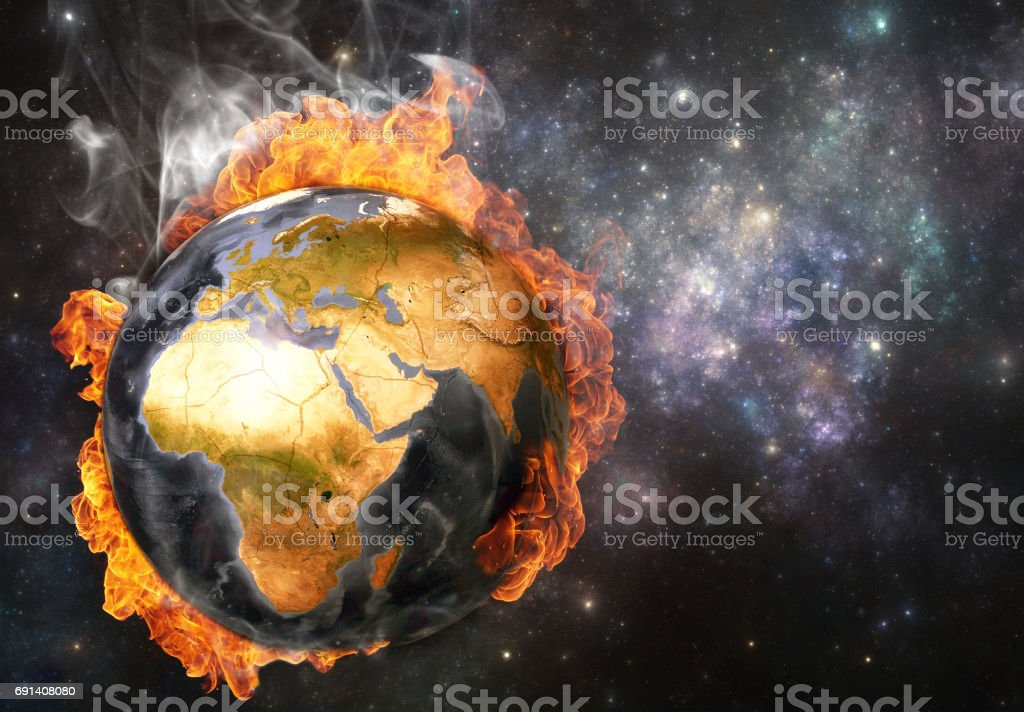 Planet Earth in flames, Global warming concept stock photo