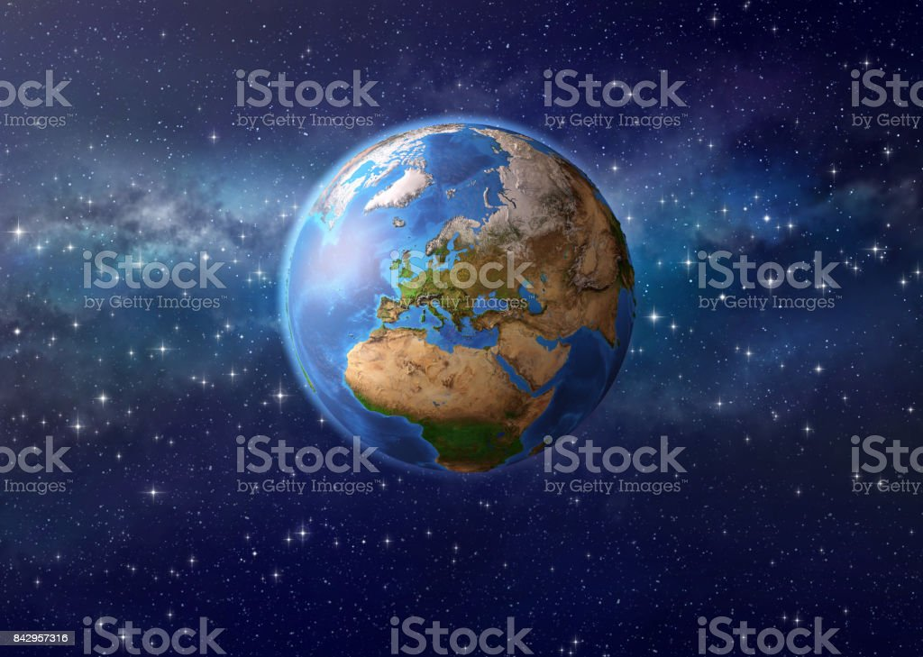 Planet earth in outer space stock photo