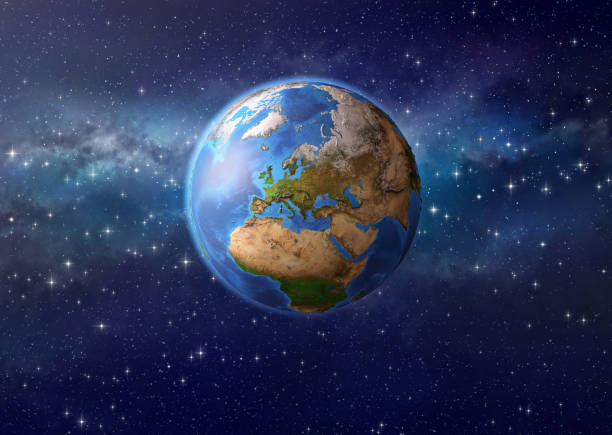 planet earth in outer space - continent geographic area stock photos and pictures
