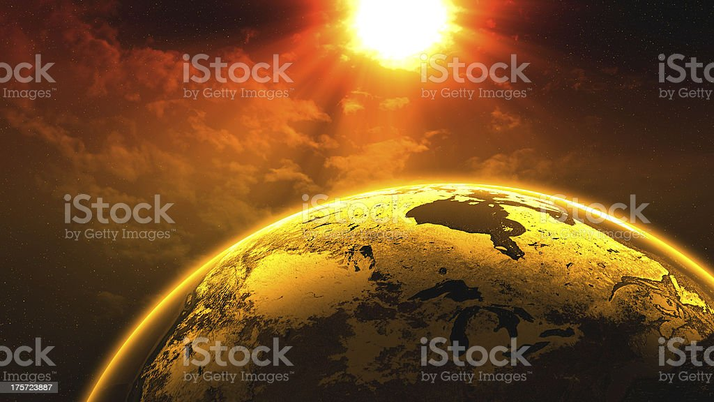 Planet earth in space with sun and clouds royalty-free stock photo