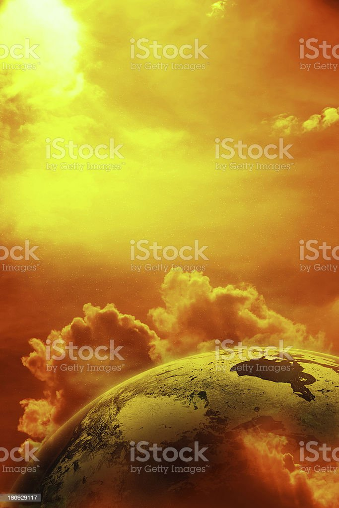 Planet earth in space with sun and clouds stock photo