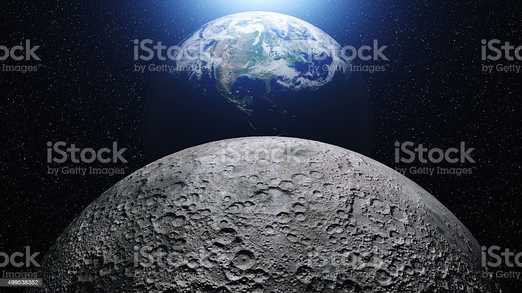 Planet Earth in universe or space in a nebula clouds stock photo
