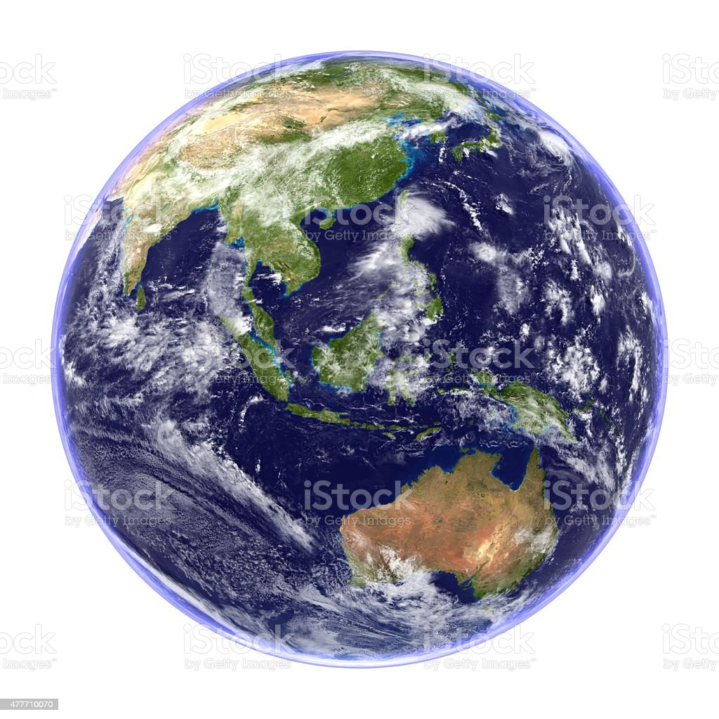 Planet Earth Isolated on White -Australasia View stock photo