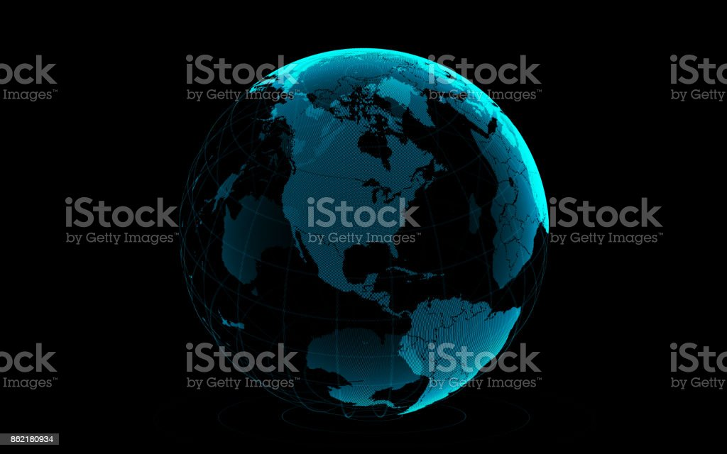Planet Earth Made of Blue Glowing Dots Over Black Background: America is in focus stock photo