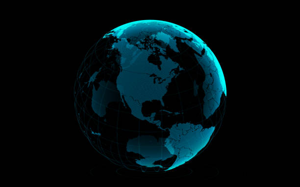 planet earth made of blue glowing dots over black background: america is in focus - north america stock photos and pictures