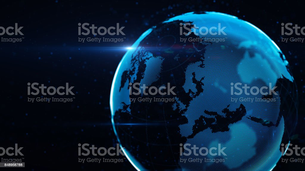 Planet Earth Made of Blue Glowing Dots Over Black Background: Europe is in focus stock photo