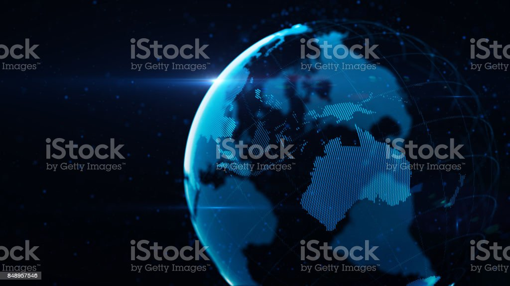Planet Earth Made of Blue Glowing Dots Over Black Background: Australia is in focus stock photo