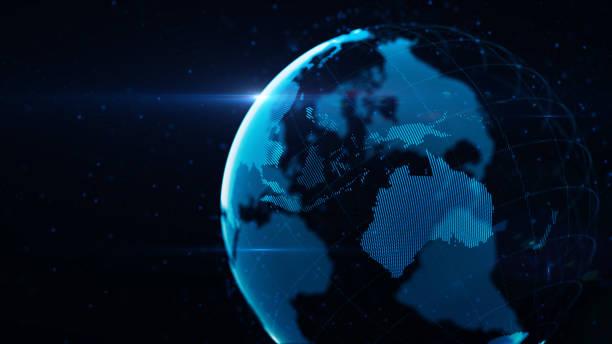 planetjorden tillverkad av blå glödande prickar över svart bakgrund: australien är i fokus - jorden nyheter bildbanksfoton och bilder
