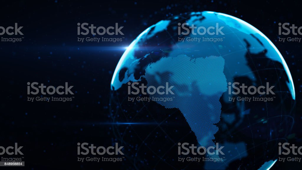 Planet Earth Made of Blue Glowing Dots Over Black Background: South America is in focus stock photo