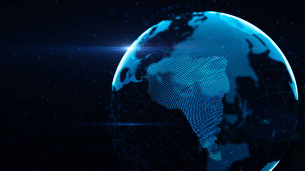 Planet Earth Made of Blue Glowing Dots Over Black Background: South America is in focus Planet earth made of glowing blue dots over black background. South America in focus. horizontal composition with copy space. latin america stock pictures, royalty-free photos & images