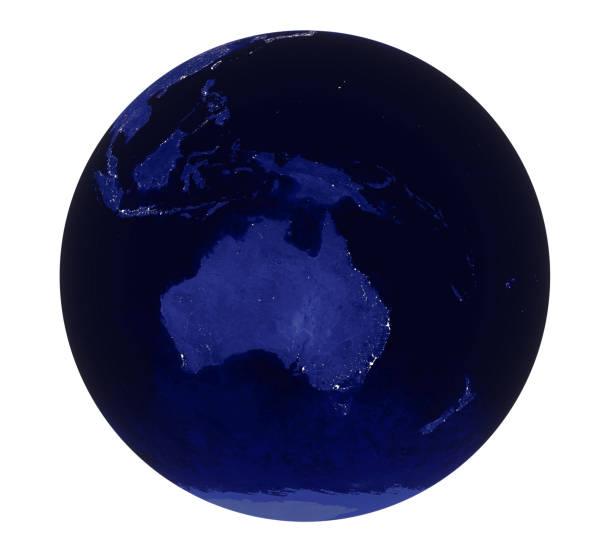 Planet Earth Night Light Australia View Isolated stock photo