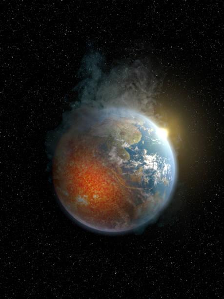 地球過熱是由於全球變暖和溫室效應--澳大利亞和亞洲--全明星背景的黑色全集圖像。基礎地球與熔化的核心, 煙霧和太陽上升。 - 氣候 個照片及圖片檔