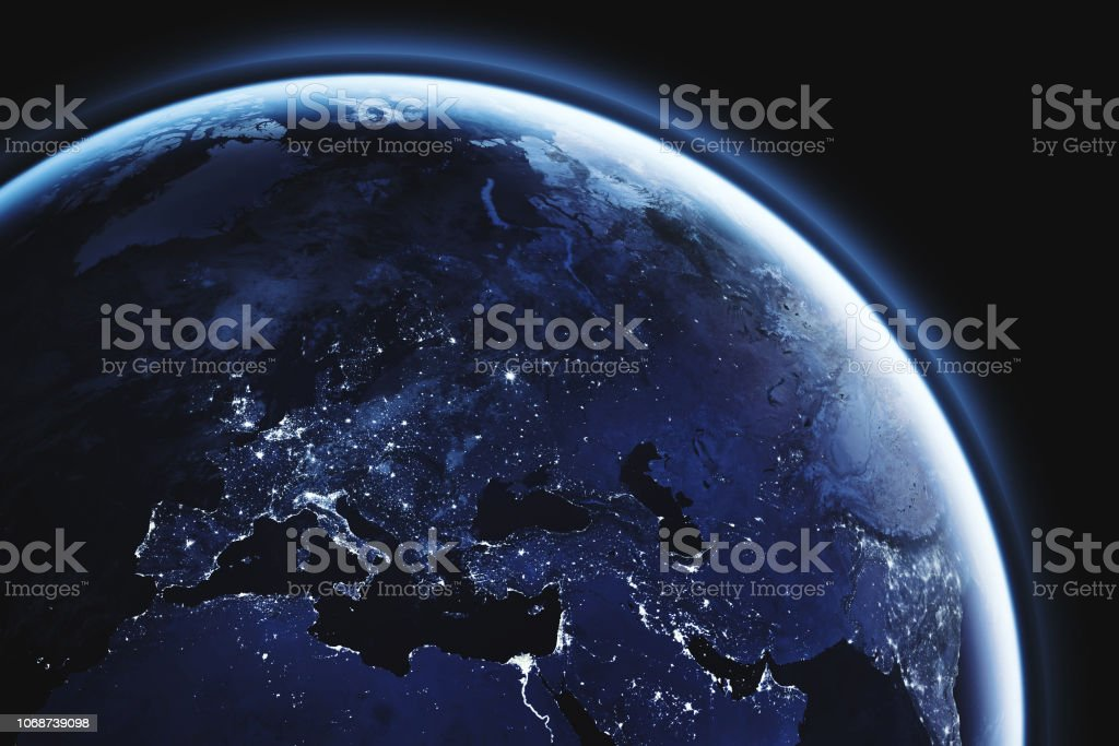 planet Earth seen from space, Europe close up, aerial view of...