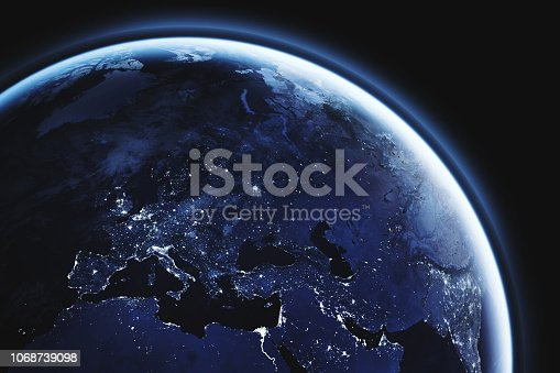 planet Earth seen from space, Europe close up, aerial view of european continent night lights with copyspace, blue tone, part of image furnished by NASA - https://eoimages.gsfc.nasa.gov/images/imagerecords/90000/90008/europe_vir_2016_lrg.png