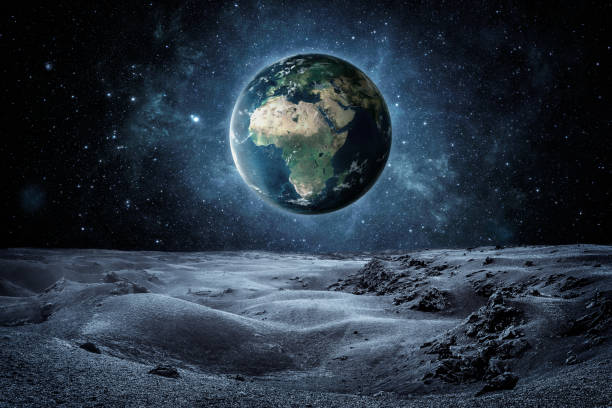 Planet earth seen fron the moon surface with copy space stock photo