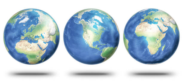 Planet Earth showing Europe, North America and Africa stock photo