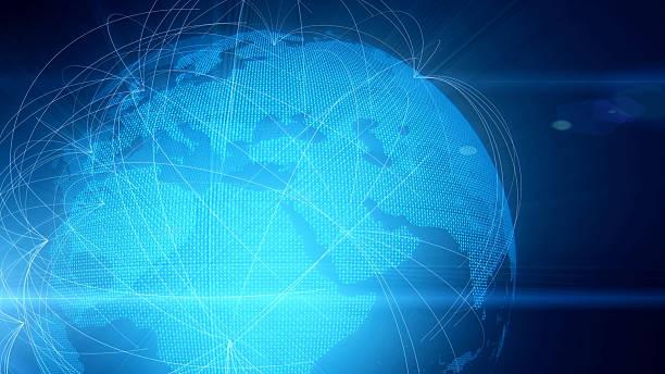 planet erde sourrounded von einer weltweiten computer-netzwerken - datenknoten stock-fotos und bilder
