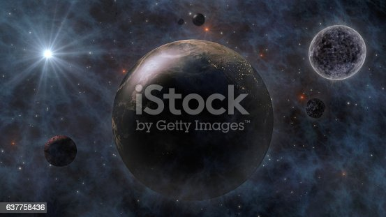 478539432 istock photo Planet Earth, Sun, Moon and Planets In Space 3D Renderin 637758436