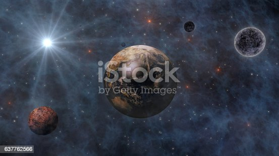 478539432 istock photo Planet Earth, Sun, Moon and Planets In Space 3D Renderin 637762566