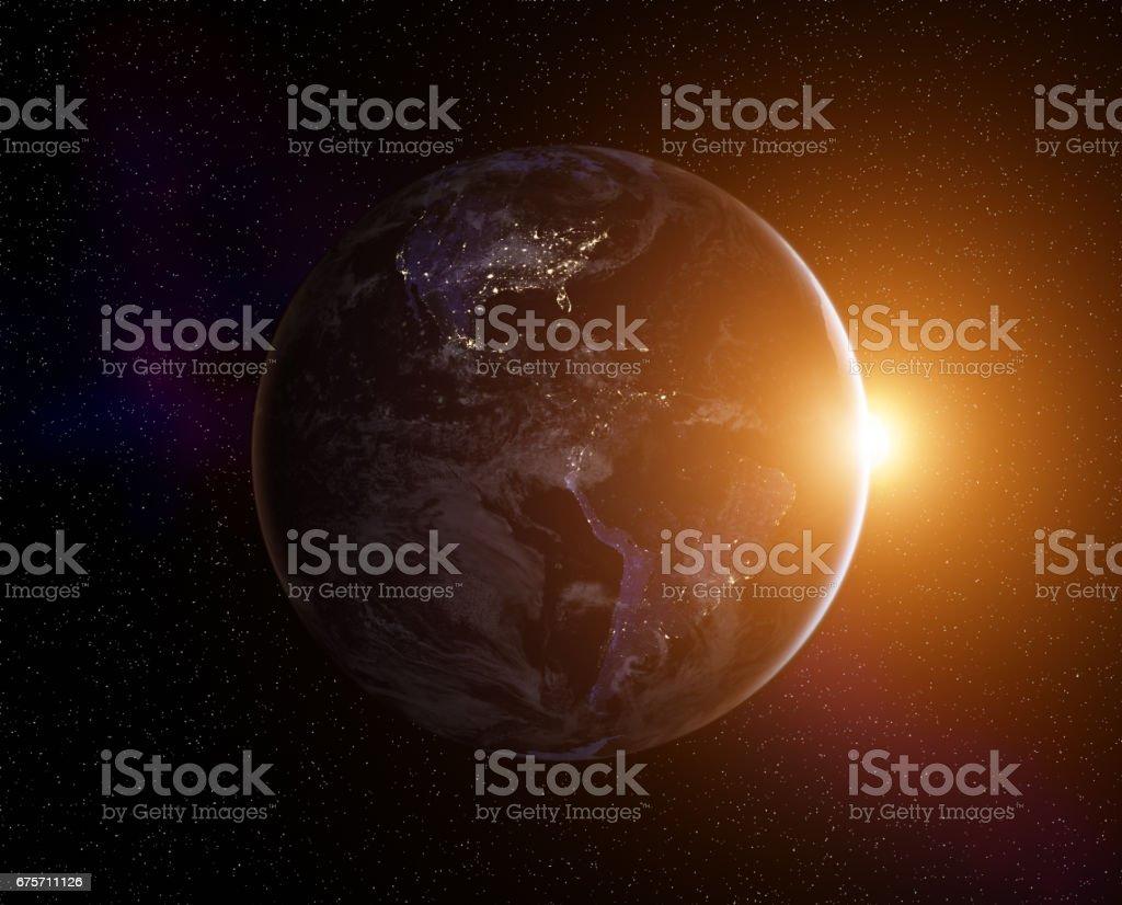 行星地球日出 免版稅 stock photo