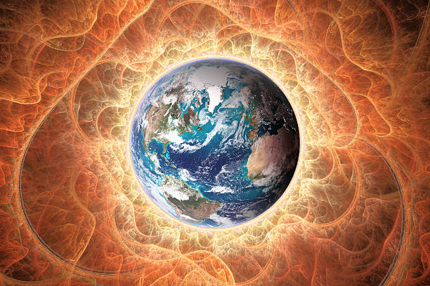 Planet earth towards sun - foto de stock