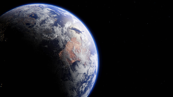 Realistic high resolution render of planet Earth, with Australia in view  Planet map taken from NASA: https://eoimages.gsfc.nasa.gov/images/imagerecords/74000/74192/world.200411.3x21600x21600.D2.png  Tools and software used: Blender 2.8